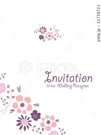 ナチュラルな花のイラストのウェディング素材招待状のイラスト素材
