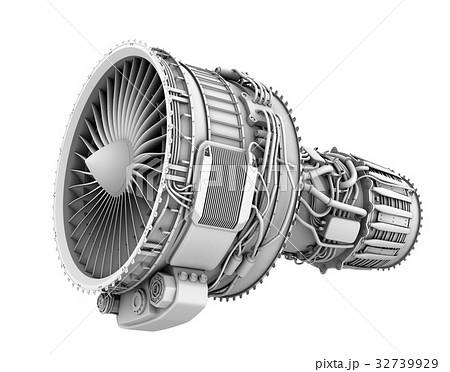 ターボファンエンジンのグレイシェーディングイメージのイラスト素材 ...