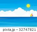 海 ヨット 雲 空 太陽 32747821