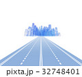 都市に向かって高速道路を走る物流システム 32748401