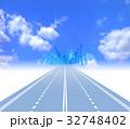 都市に向かって高速道路を走る物流システム 32748402