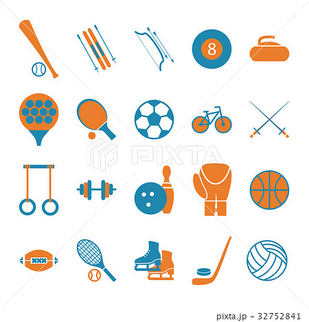 Sport Icon Signs and Symbols Color Set. Vector 32752841