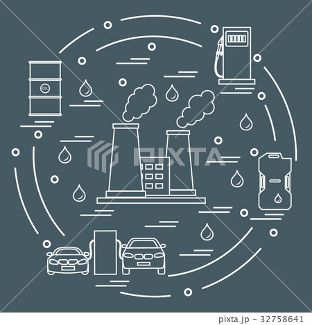 vector of refinery plant with smoking chimneys 32758641