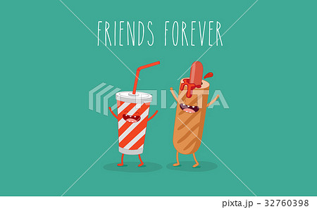 Funny tomato ketchup and tomato. Friend forever. 32760398