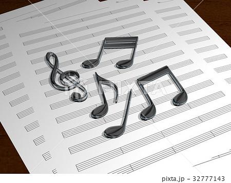五線譜と音譜イメージ 32777143