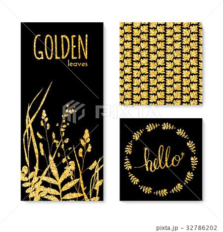 Set of glitter golden leaves banner, frame andのイラスト素材 [32786202] - PIXTA