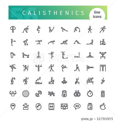 Calisthenics Line Icons Set 32793955