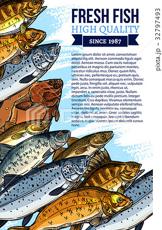 Vector poster for fresh fish or seafood marketのイラスト素材 [32797493] - PIXTA
