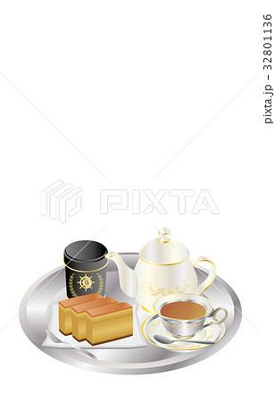 今日のスイーツ紅茶とカステラ 32801136