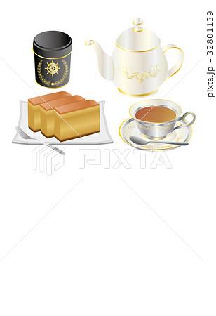 今日のスイーツ紅茶とカステラ 32801139