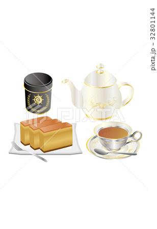 今日のスイーツ紅茶とカステラ 32801144