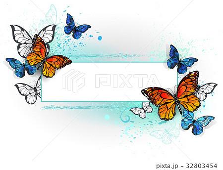 Rectangular banner with butterflies monarchs 32803454