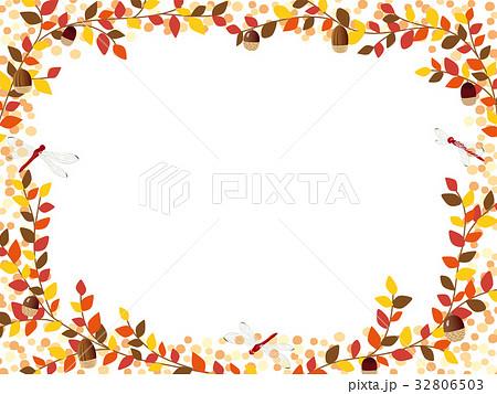 秋の紅葉植物のフレーム素材のイラスト素材 32806503 Pixta
