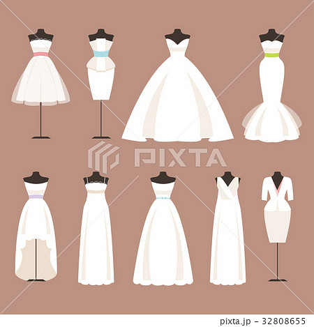 57d59fbb133db Styles of wedding dresses. Vector Illustrationのイラスト素材 ...