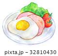 ハムエッグ 目玉焼き 食べ物のイラスト 32810430