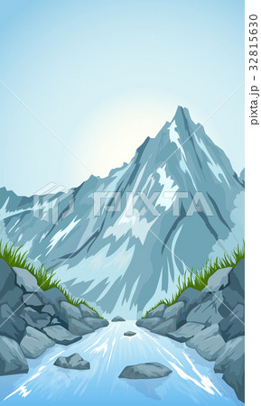 river in the mountainsのイラスト素材 32815630 pixta