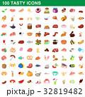 100 tasty icons set, cartoon style 32819482