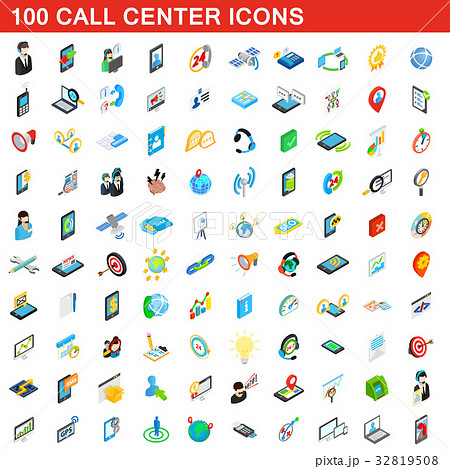 100 call center icons set, isometric 3d style 32819508
