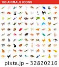 100 animals icons set, isometric 3d style 32820216