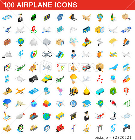 100 airplane icons set, isometric 3d style 32820221