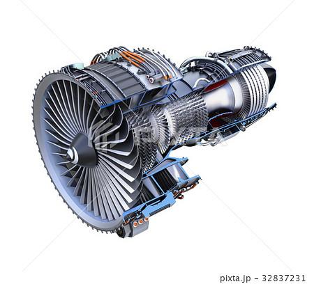ターボファンエンジンの3Dカットモデルイメージ 32837231