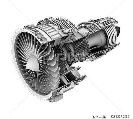 ターボファンエンジンのグレイシェーディングカットモデルイメージの ...
