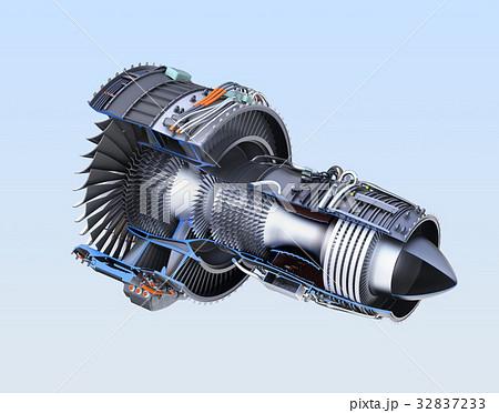 ターボファンエンジンの3Dカットモデルイメージのイラスト素材 ...