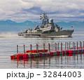 Russian warship going along the coast 32844003