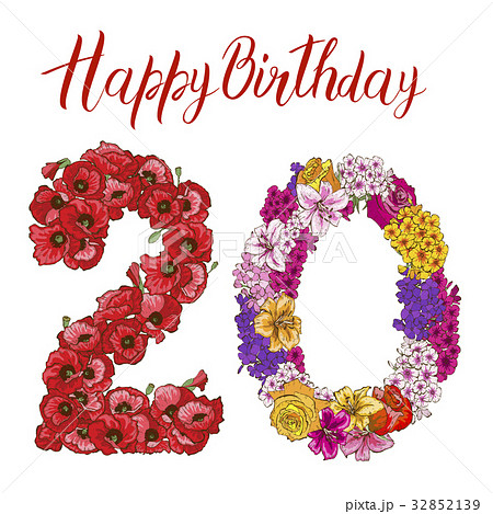 Twenty digit made of different flowers isolated  32852139