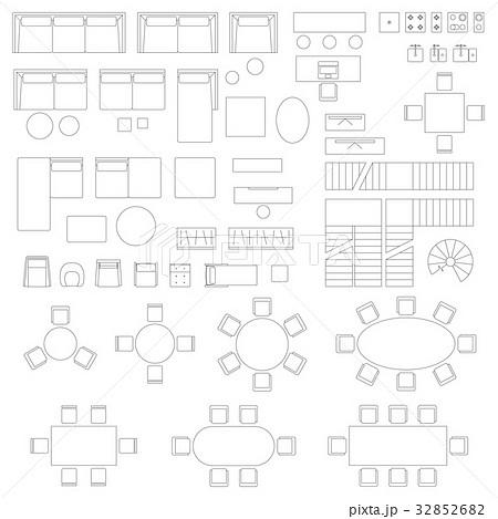 Furniture set icons for living roomのイラスト素材 [32852682] - PIXTA