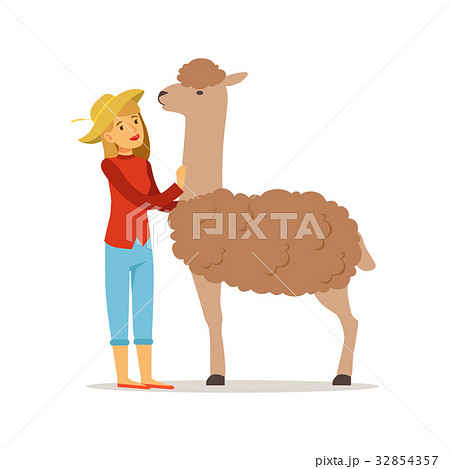 Farmer woman caring for her alpaca, farming and 32854357