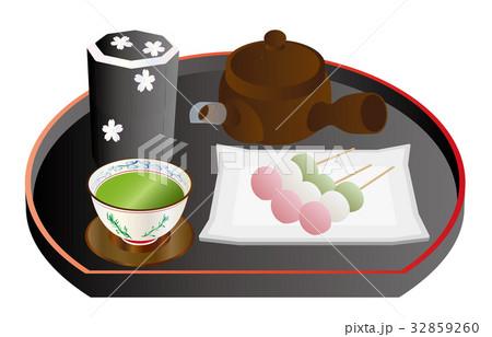 今日のスイーツ緑茶と串団子 32859260