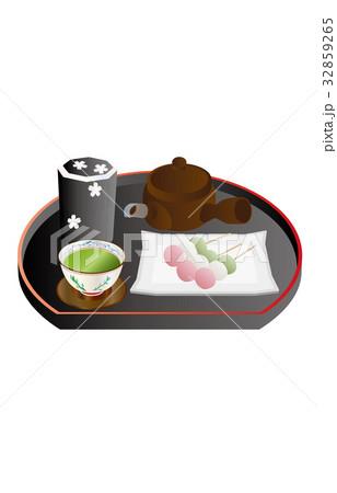 今日のスイーツ緑茶と串団子 32859265