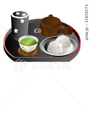 今日のスイーツ緑茶と大福 32859273