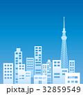 ビル群 オフィス街 シルエットのイラスト 32859549