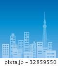ビル群 オフィス街 シルエットのイラスト 32859550