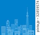 ビル群 オフィス街 シルエットのイラスト 32859574