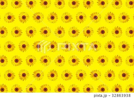 ひまわりの背景パターン 黄色背景のイラスト素材
