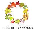 秋 葉っぱ りすのイラスト 32867003