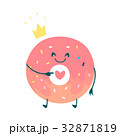 Vector sweet humanized pink donut character 32871819