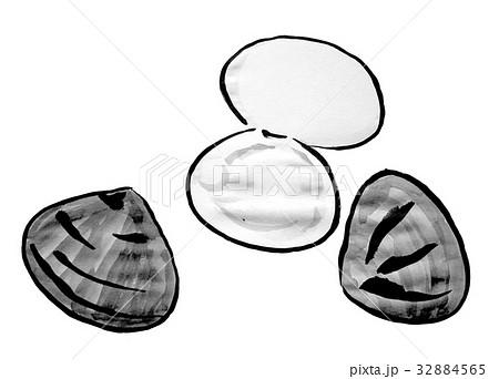 はまぐり <水墨画の魚介類> 32884565