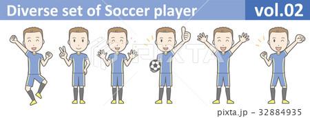 青いユニフォームを着たサッカー選手のイラストvol.02 32884935