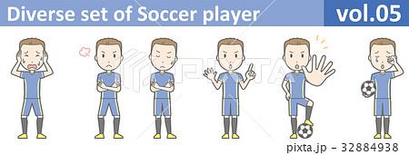 青いユニフォームを着たサッカー選手のイラストvol.05 32884938