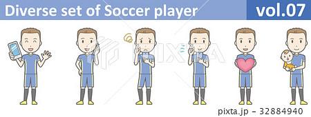 青いユニフォームを着たサッカー選手のイラストvol.07 32884940