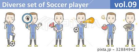青いユニフォームを着たサッカー選手のイラストvol.09 32884942
