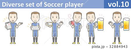 青いユニフォームを着たサッカー選手のイラストvol.10 32884943