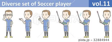 青いユニフォームを着たサッカー選手のイラストvol.11 32884944