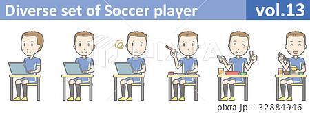 青いユニフォームを着たサッカー選手のイラストvol.13 32884946