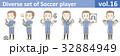 青いユニフォームを着たサッカー選手のイラストvol.16 32884949