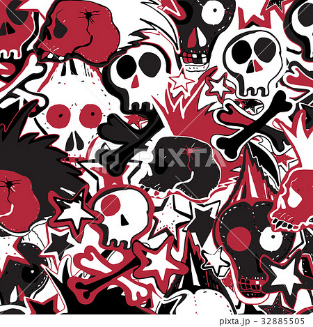 Vector cute punk rock abstract background. のイラスト素材 [32885505] - PIXTA